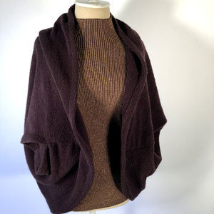 LOOK Dark Brown soft Acrylic Sweater Jacket Cape